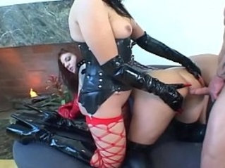 Fetish babes in pvc and stockings share a big cock