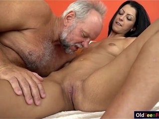 Vivien Bell eager to suck old cock so its hard for her pussy