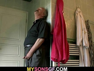 Horny old dad uses sons girlfriend
