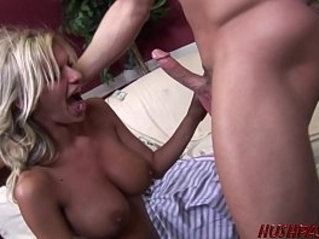 Busty housewife double fucked for cash by guys