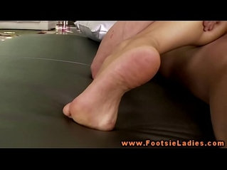 foot fetish babe toying her pussy plowed by this lucky guy