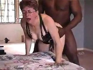 Lovely grandma from gets doggystyle fucked by black friend