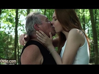 Sexy redhead seducing grandpa and has incredible sex with him