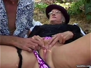 Granny gets fucked real hard outdoor