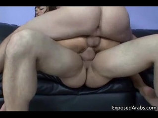 Arabic chick getting face fucked by two guys.
