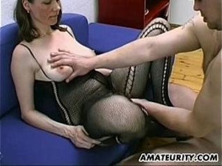 Busty and hairy Milf gives blowjob, titjob with cum on tits