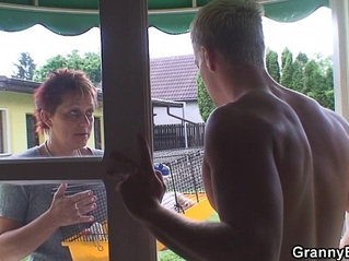 Old granny rides neighbours big cock