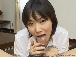 Alluring And Kinky Japanese Cutie Giving a Head Seductively
