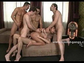 Busty babe dreams her pussy and ass drilling in violent gangbang sex video