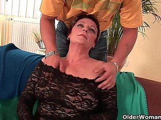 Sexy grandma enjoys cock in her mouth and hairy pussy