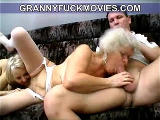 wild and horny amateur granny blows young