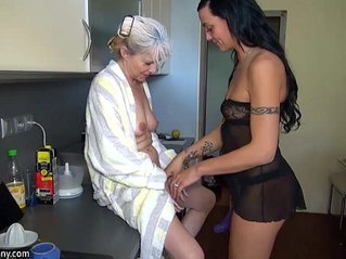 OldNanny Nice threesome, young couple is dealt with mature