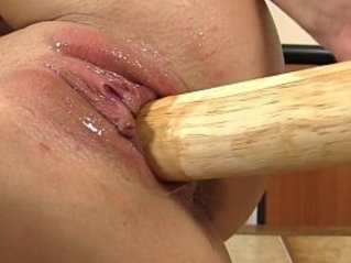 Moist juicy peach penetrated with their toys