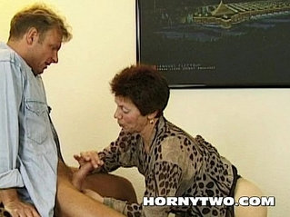 Very horny old hairy bitch sucking every last drop of sperm from young dick