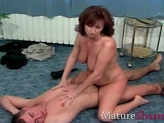 Natural hairy mature wife gets a good fuck