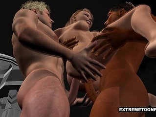 3D Babe Gets Double Penetration in a Graveyard